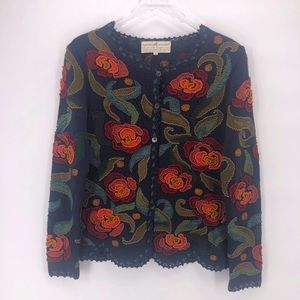 The Peruvian Connection Floral Sweater 100% Cotton
